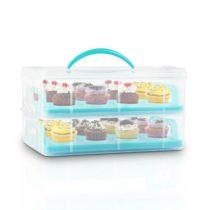Klarstein USS Blue Cookie, modrý, prenosný box na koláče s 2 poschodiami, 2 roštami a držadlom