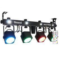 Beamz LED ASTRO, štvorcestná LED svetelná sada, 4 x 10 W COB LED, nožný pedál