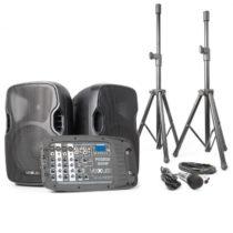 Vexus PSS302, prenosný PA audio systém, 300 W max., bluetooth, USB, SD, MP3, 2 x statív, 1 x mikrofó...