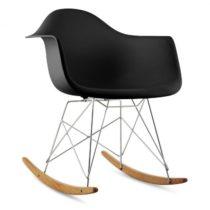 OneConcept Aurel, čierna, hojdacia stolička, retro, PP sedadlo, brezové drevo