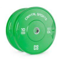 Capital Sports Nipton 10 Bumper Plates, činkové kotúče 10 kg, tvrdená guma, zelené