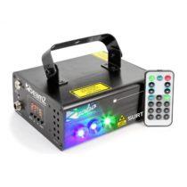 Beamz Surtur II, dvojitý laser, RG, 7 DMX kanálov, 3 W modrá LED, 8 motívov, diaľkový ovládač