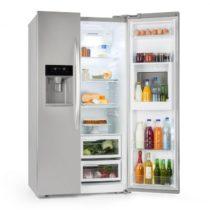 Klarstein Grand Host XXL, chladnička s mrazničkou, 550 litrov, dávkovač ľadu a vody, A+, strieborná ...