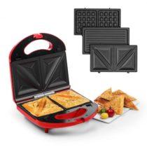 Klarstein Trilit 3 v 1, sendvičovač, 750 W, 3 grilovacie platne, LED, nelepivý povrch, červený
