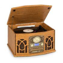 Auna NR-620, DAB, stereo systém, drevo, gramofón, DAB+, prehrávač CD, hnedý