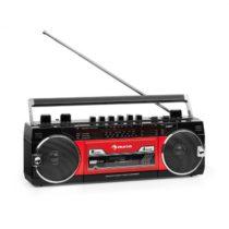 Auna Duke MKII, magnetofón, rádio, BT, USB, SD, teleskopická anténa, čierny/červený