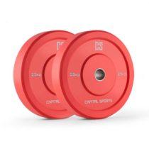 Capital Sports Nipton Bumper Plates, červené, 25 kg, pár kotúčových závaží, tvrdá guma