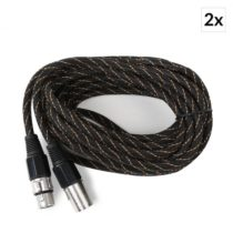 FrontStage XLR kábel, sada 2 kusov, 6 m, textilný plášť, samec-samica