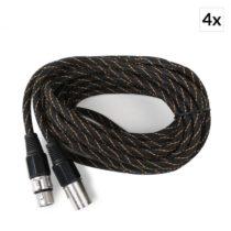 FrontStage XLR kábel, čierno-zlatý, sada 4 kusov, 6 m, textilný plášť, samec-samica