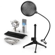 Auna MIC-900S-LED V2, trojdielna USB mikrofónová sada, kondenzátorový mikrofón + pop-filter + stolný...