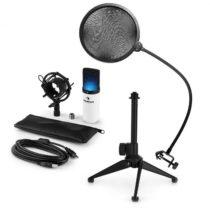 Auna MIC-900WH-LED V2, trojdielna USB mikrofónová sada, kondenzátorový mikrofón + pop-filter + stoln...