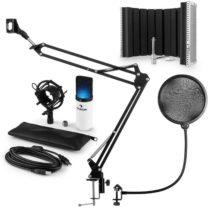 Auna MIC-900WH-LED V5, biela, mikrofónová sada, kondenzátorový mikrofón, pop-filter, resorpčný panel...