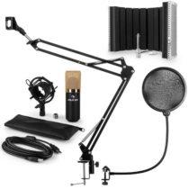 Auna MIC-900BG V5, zlatá, mikrofónová sada, kondenzátorový mikrofón, pop-filter, resorpčný panel, ra...