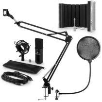Auna CM001B mikrofónová sada V5 kondenzátorový mikrofón, mikrofónové rameno, pop filter, panel, čier...