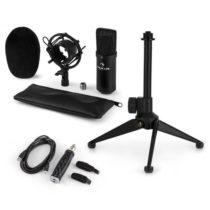 Auna CM001B mikrofónová sada V1, kondenzátorový mikrofón, USB-adaptér, mikrofónový stojan, čierna fa...