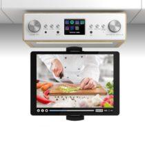 """Auna Connect Soundchef, kuchynské rádio s držiakom na tablet, set, DAB+, FM, 2x3"""", buk"""